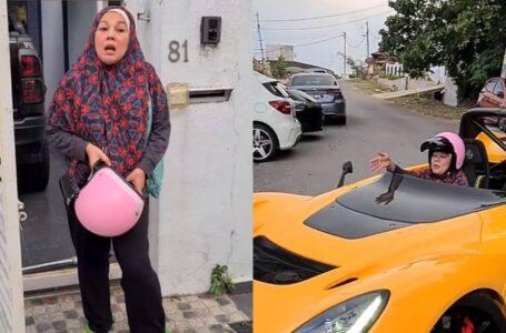 Sharifah Shahirah Buat Hal, Selamba Naik Kereta Sport Pakai Helmet Pink